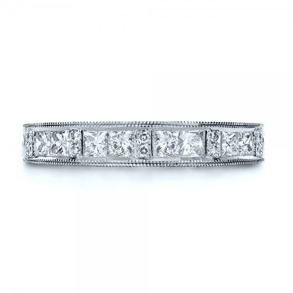Custom Princess Cut Diamond Women's Wedding Band - Top View