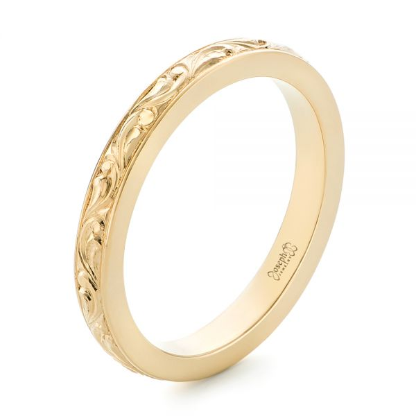 18k Yellow Gold Custom Relief Engraved Wedding Band - Three-Quarter View -  102424