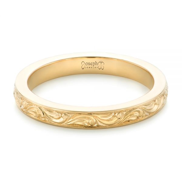 18k Yellow Gold Custom Relief Engraved Wedding Band - Flat View -  102424