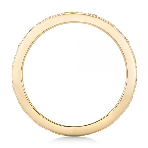 18k Yellow Gold Custom Relief Engraved Wedding Band - Front View -  102424