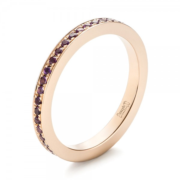 Custom Rose Gold Amethyst Eternity Wedding Band