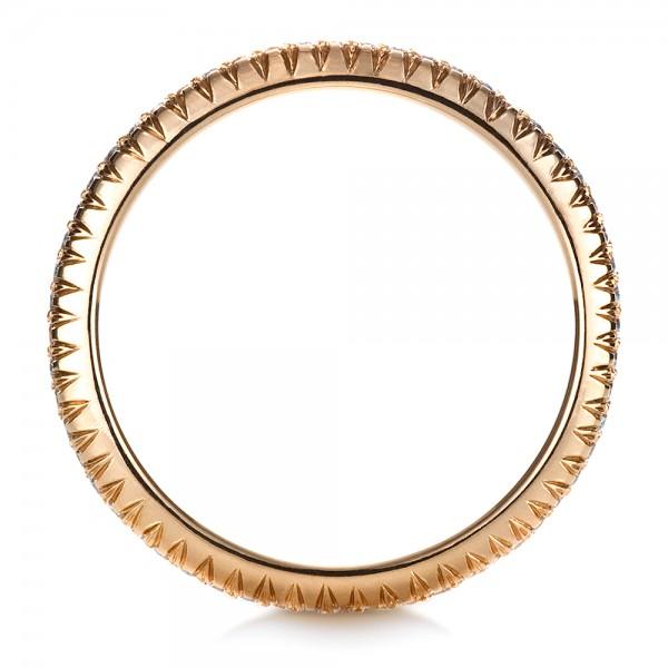 Custom Rose Gold Diamond Eternity Band - Finger Through View