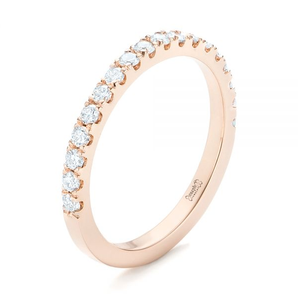 18k Rose Gold 18k Rose Gold Custom Diamond Wedding Band - Three-Quarter View -  102935
