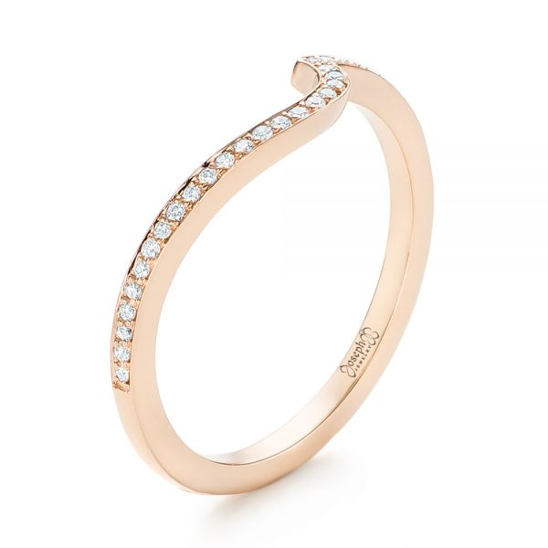 Custom Rose Gold Diamond Wedding Band - Three-Quarter View -  103302 - Thumbnail