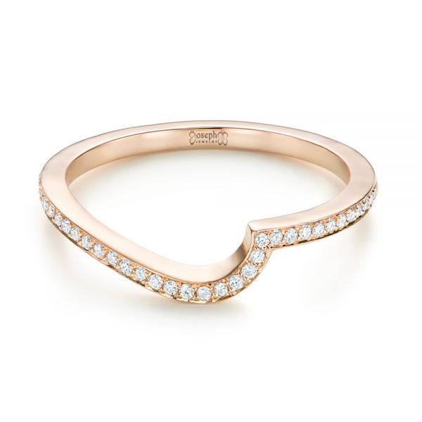 Custom Rose Gold Diamond Wedding Band - Flat View -  103302 - Thumbnail
