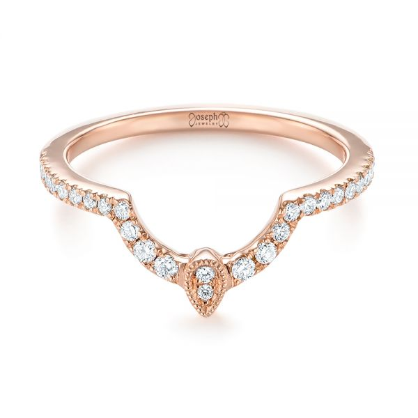 Custom Rose Gold Diamond Wedding Band - Flat View -  104265 - Thumbnail