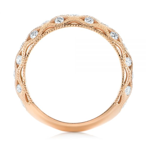 14k Rose Gold Custom Diamond Wedding Band - Front View -