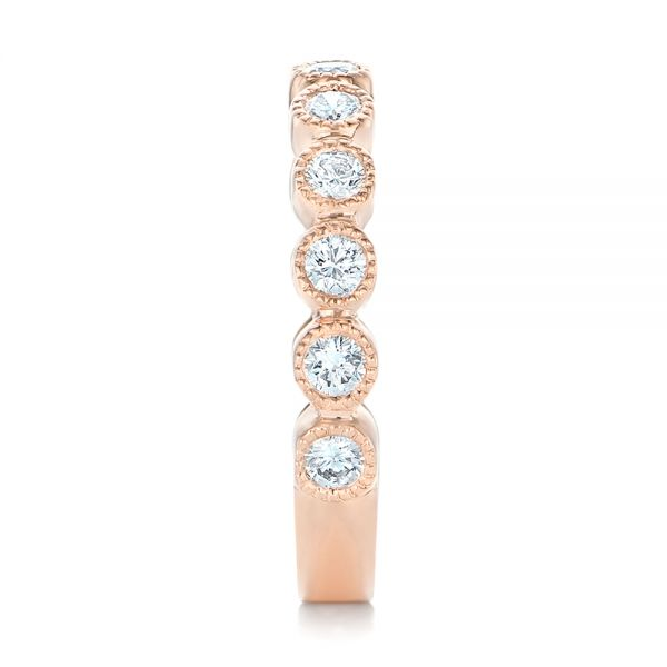 Custom Rose Gold Diamond Wedding Band - Side View -  102849 - Thumbnail