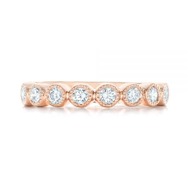 Custom Rose Gold Diamond Wedding Band - Top View -  102849 - Thumbnail