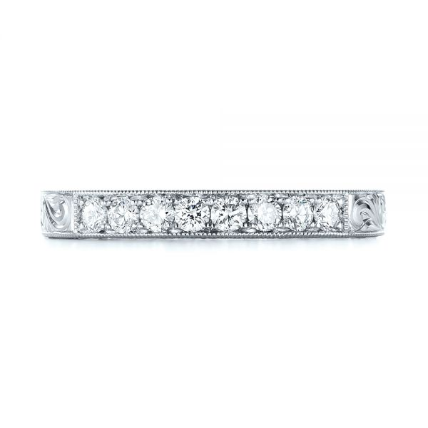 14K White Gold Custom Rose Gold Diamond Wedding Band - Top View -  103530 - Thumbnail