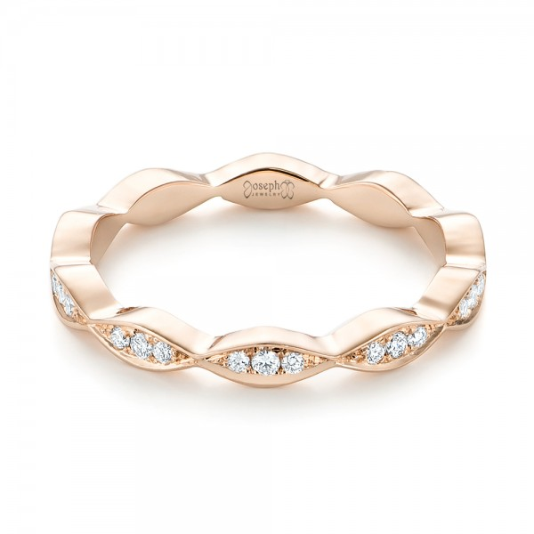 Custom Rose Gold Eternity Diamond Wedding Band - Laying View