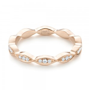 Custom Rose Gold Eternity Diamond Wedding Band