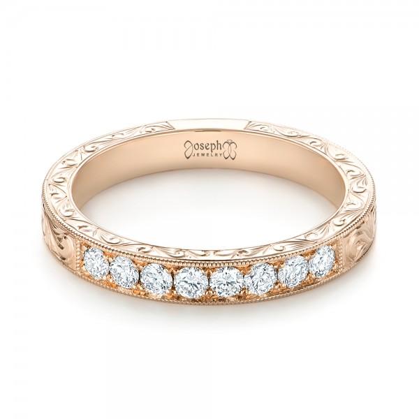 Custom Rose Gold Diamond Wedding Band - Laying View