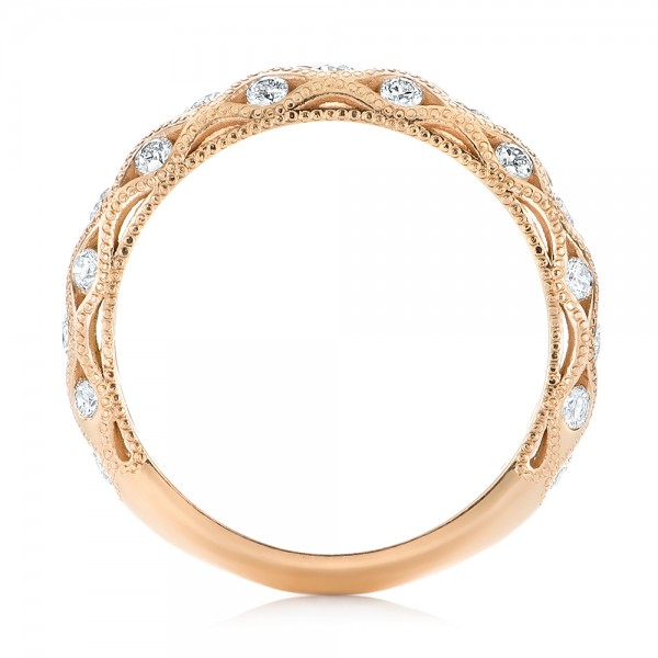 Custom Rose Gold Diamond Wedding Band - Finger Through View
