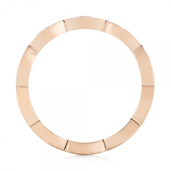 Custom Rose Gold Eternity Diamond Wedding Band - Finger Through View
