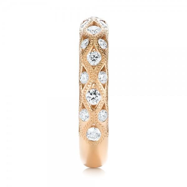 Custom Rose Gold Diamond Wedding Band - Side View
