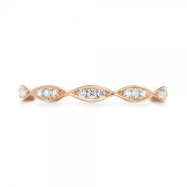 Custom Rose Gold Eternity Diamond Wedding Band - Top View