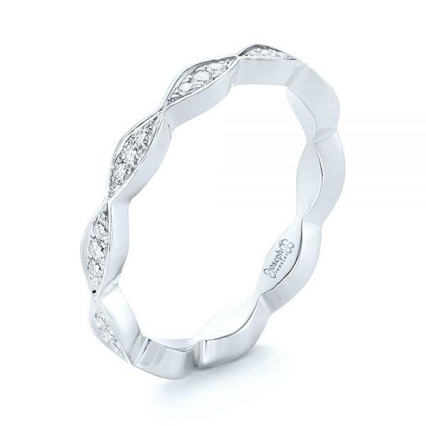 Platinum Platinum Custom Eternity Diamond Wedding Band - Three-Quarter View -  103459