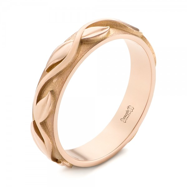 Custom Rose Gold Floral Wedding Band