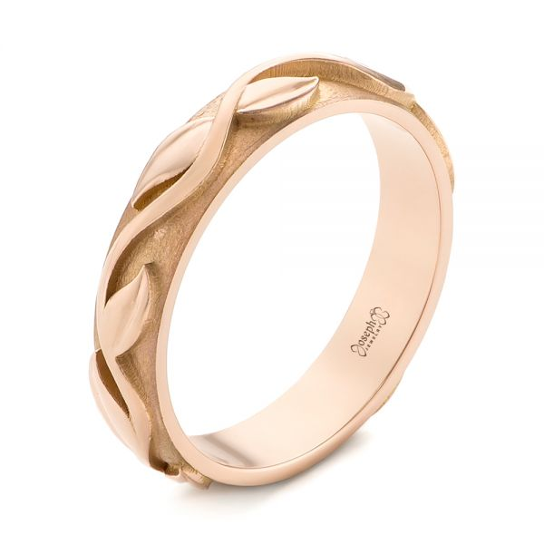 Custom Rose Gold Floral Wedding Band - Image