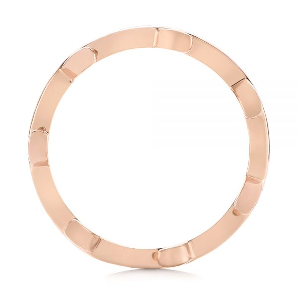 14k Rose Gold Custom Floral Wedding Band - Front View -
