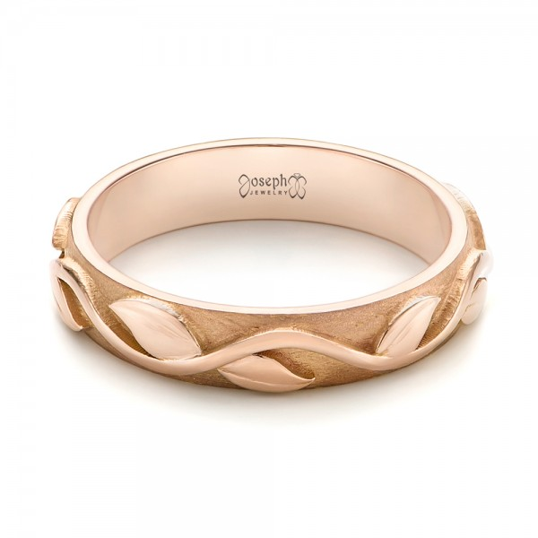 Custom Rose Gold Floral Wedding Band - Laying View