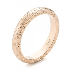 Custom Rose Gold Hand Engraved Wedding Band