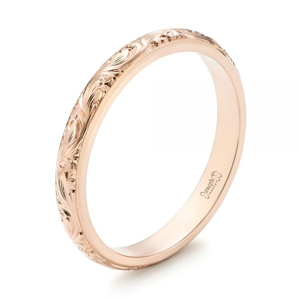 14k Rose Gold Custom Hand Engraved Wedding Band - Three-Quarter View -