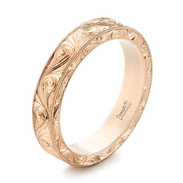 Custom Rose Gold Hand Engraved Wedding Band - Image