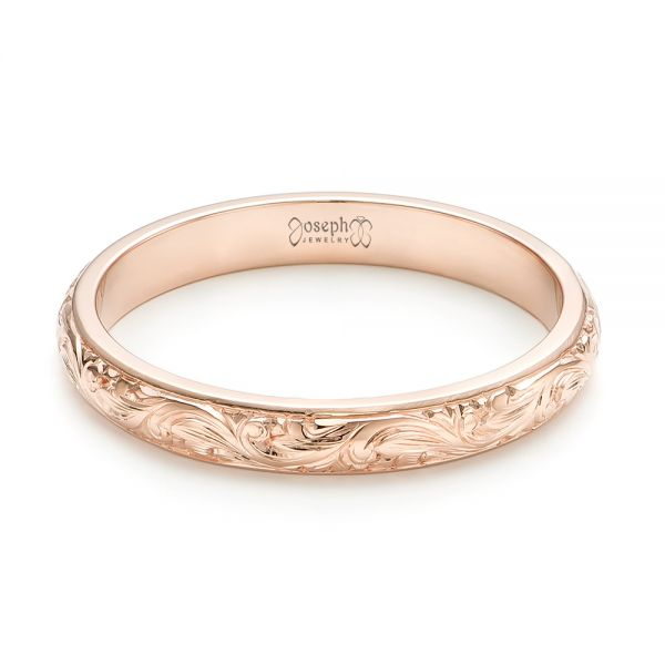 14k Rose Gold Custom Hand Engraved Wedding Band - Flat View -