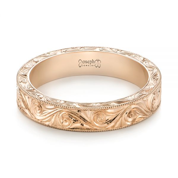 14k Rose Gold Custom Hand Engraved Wedding Band - Flat View -  103286