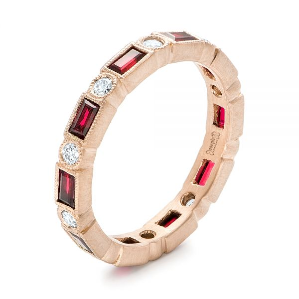 14k Rose Gold Custom Ruby And Diamond Eternity Wedding Band - Three-Quarter View -  103226