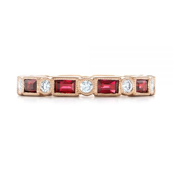 14k Rose Gold Custom Ruby And Diamond Eternity Wedding Band - Top View -  103226