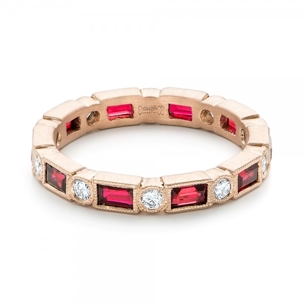 Custom Rose Gold Ruby and Diamond Eternity Wedding Band - Laying View