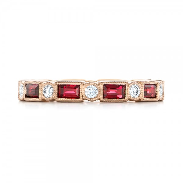 Custom Rose Gold Ruby and Diamond Eternity Wedding Band - Top View