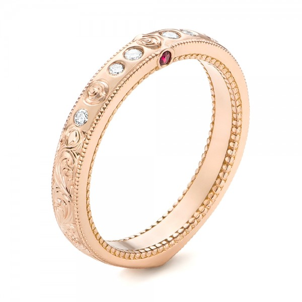 Custom Rose Gold Ruby and Diamond Wedding Band