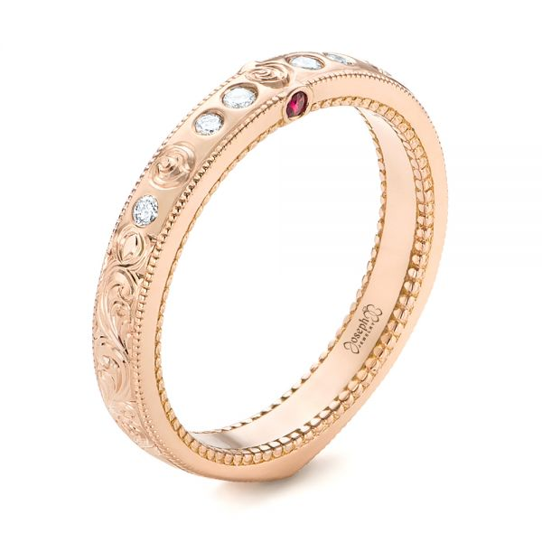 Custom Rose Gold Ruby and Diamond Wedding Band - Image