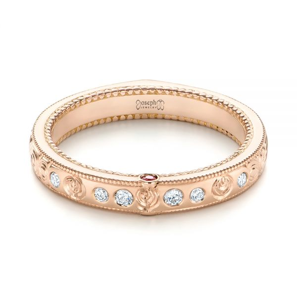 Custom Rose Gold Ruby and Diamond Wedding Band - Flat View -  103469 - Thumbnail