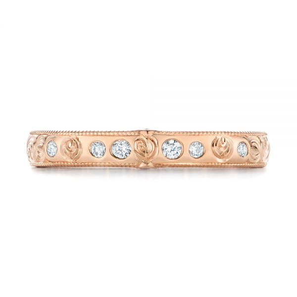 Custom Rose Gold Ruby and Diamond Wedding Band - Top View -  103469 - Thumbnail