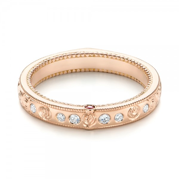 Custom Rose Gold Ruby and Diamond Wedding Band - Laying View