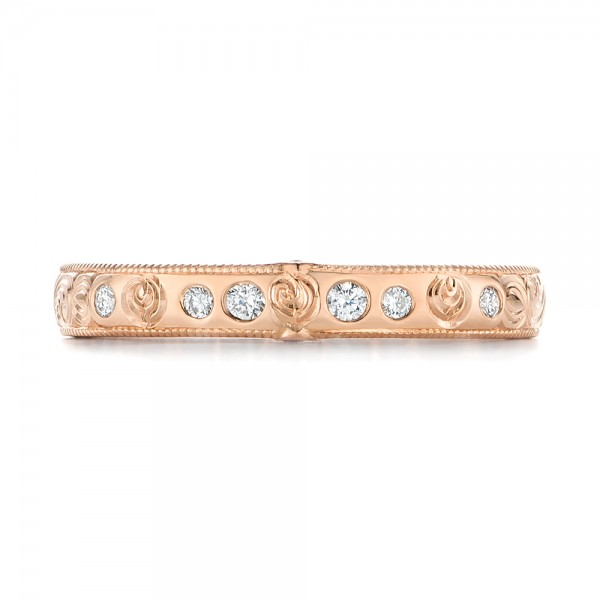 Custom Rose Gold Ruby and Diamond Wedding Band - Top View