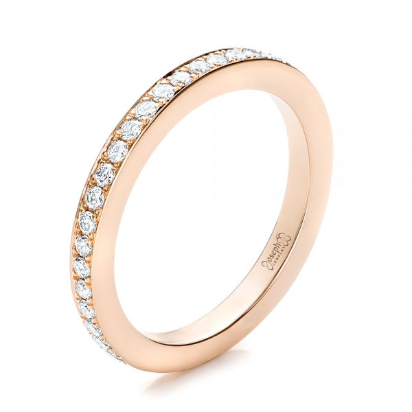 14k Rose Gold Custom Diamond Wedding Band - Three-Quarter View -