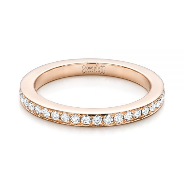 14k Rose Gold Custom Diamond Wedding Band - Flat View -