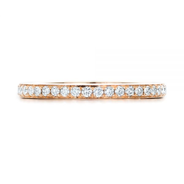 14k Rose Gold Custom Diamond Wedding Band - Top View -