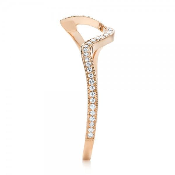 Custom Rose Gold and Diamond Wedding Band - Side View