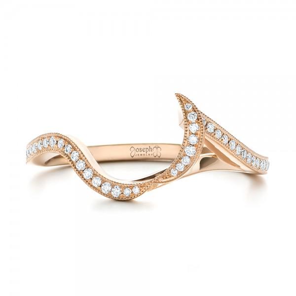 Custom Rose Gold and Diamond Wedding Band - Top View