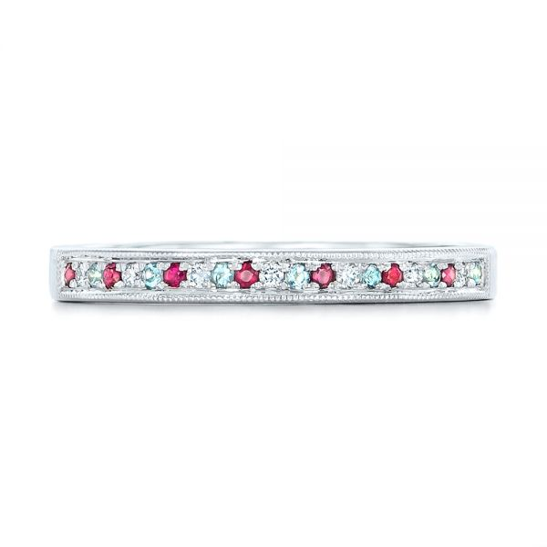 14k White Gold Custom Ruby Topaz And Diamond Wedding Band - Top View -  102418