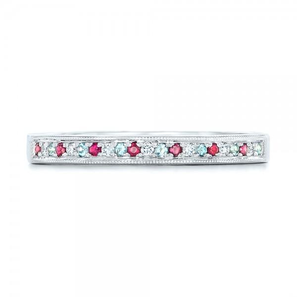 Custom Ruby, Topaz and Diamond Wedding Band - Top View