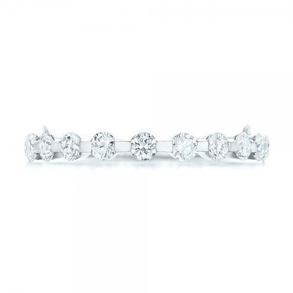 Custom Tension Set Diamond Wedding Band - Top View