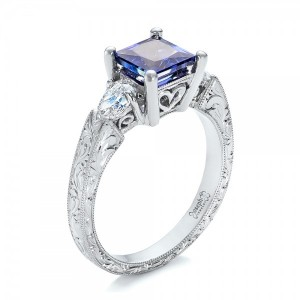 Custom Three Stone Tanzanite and Diamond Anniversary Ring